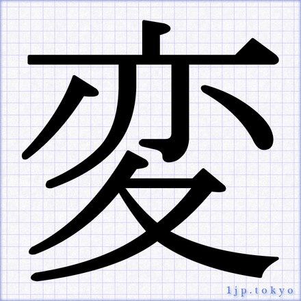 「変」 漢字の書道手本 変レタリング